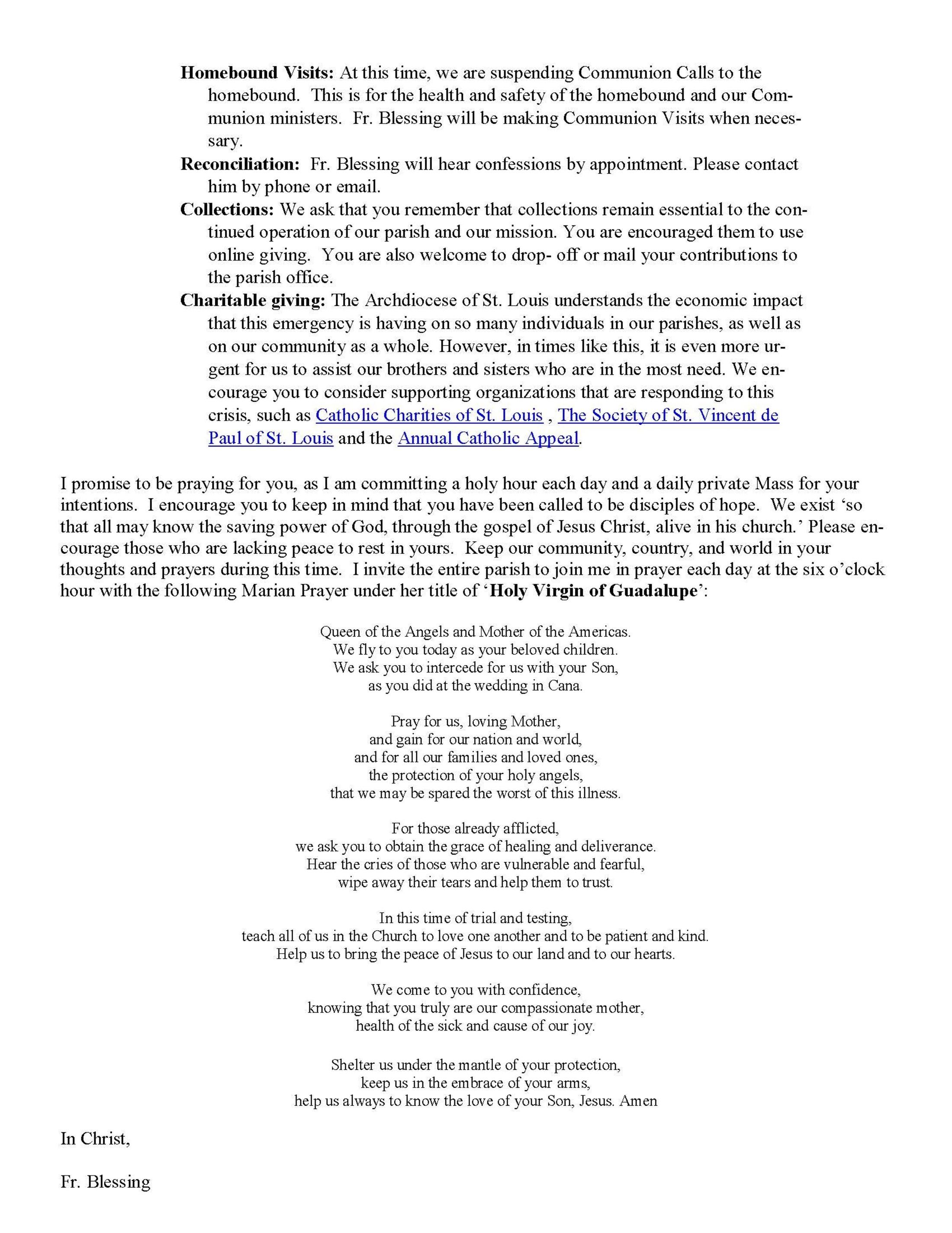 Coronavirus Letter To Parishioners Mar2020 Page 2