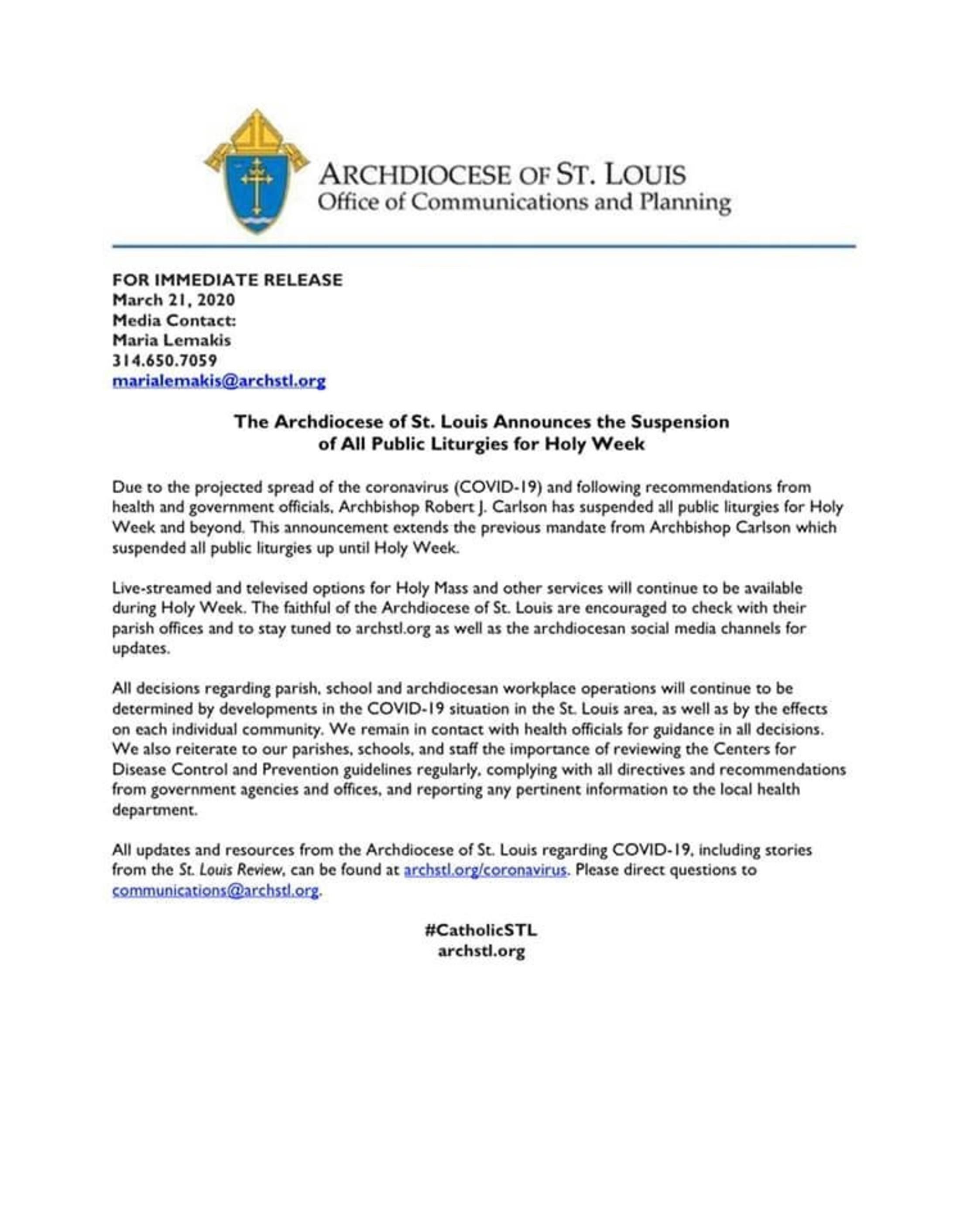 Holy Week Media Release